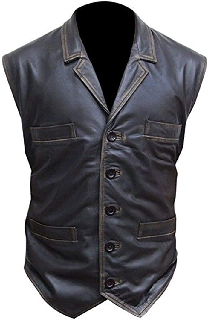 Mens Hell On Wheels Cullen Bohannon Brown Real Leather Distressed Vest