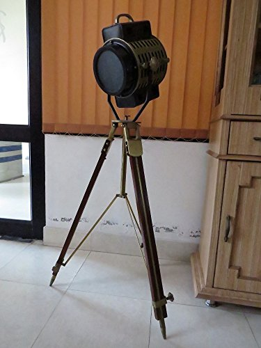 "Antique Marine Nautical Spotlight Hollywood Floor Lamp Wooden Tripod 72"" By NauticalMart"