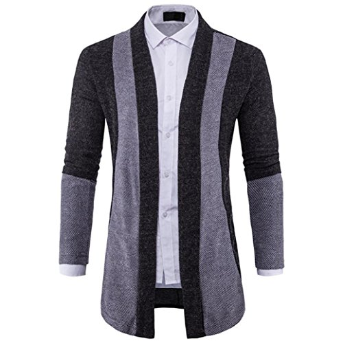 Winter Autumn Mens Cardigan Suit Slim Fit Knit Lapel Sweater Fashion Long Trench Coat Jacket (Black, M) by Sinzelimin