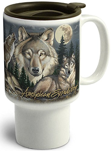 American Expedition CTMG-306 Stoneware Travel Mug, Gray Wolf Collage, Multi-Color