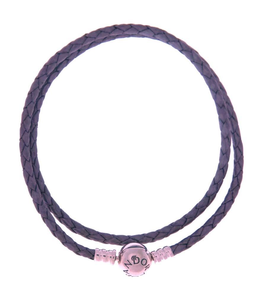 PANDORA Purple Braided-Double Leather Charm Bracelet, 590745CPE (35)