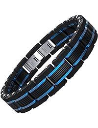 Men Bracelets Blue&Black Adjustable Bracelet for Men 8.5-9 inch (Gift Box)