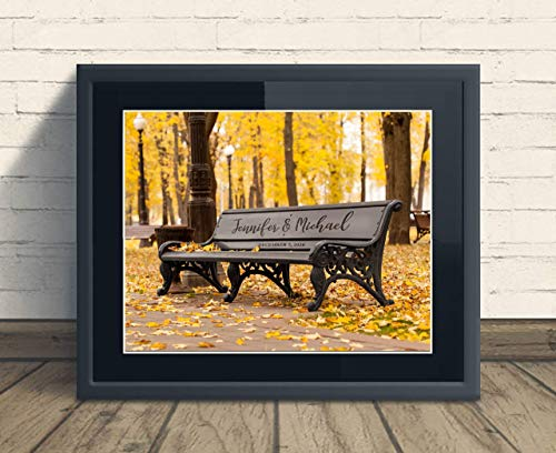 (Custom Rustic Vintage Park Bench Print Wedding Anniversary Gift, Personalized Keepsake Artwork includes Couples Names and Established Date, Gift for the Newlyweds and Bridal Shower )