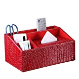 UnionBasic Multifunctional Desk Organizer - Pad Notebook File Magazine Holder - Business Card/Pen/Pencil/Mobile Phone/Stationery Storage Organizer - Small Tissue Box (Croco Red - New)
