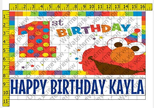 1/2 Sheet Elmo's 1st Birthday Edible Personalized Image Edible Frosting Cake Topper ()