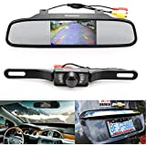 """Backup Camera and Monitor Kit,Chuanganzhuo 4.3"""" Car Vehicle Rearview Mirror Monitor for DVD/VCR/Car Reverse Camera + CMOS Rear-view License Plate Car Rear Backup Parking Camera With 7 LED Night Vision"""