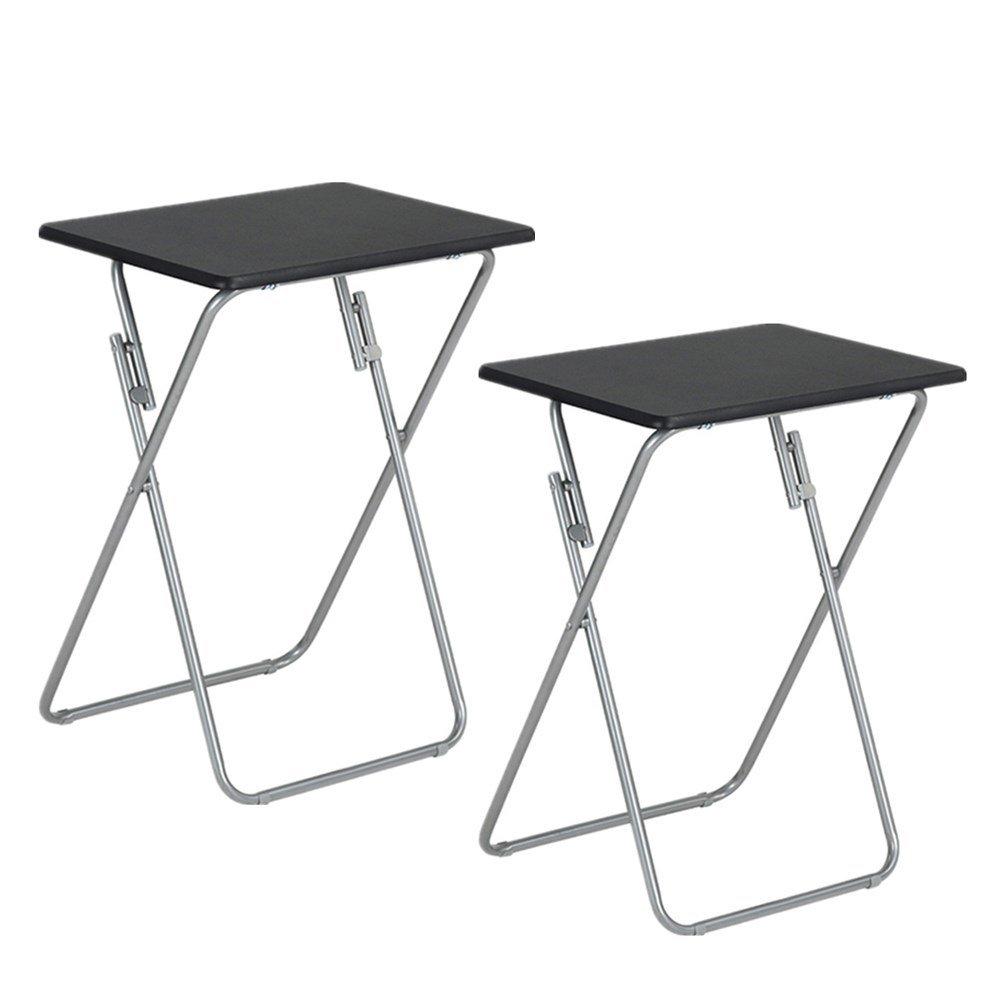 Aingoo Tavolino da Snack Tavolino da Pranzo multifunzione con piano in legno e struttura in metallo, Vassoi per laptop per Home Office in nero (1 pezzo) AO-JY-BK
