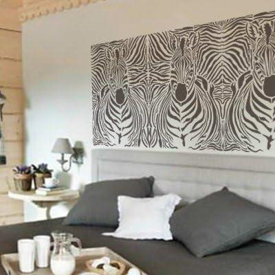 Mesures: mesure ext/érieure du Stencil: 50 x 50 cm cm Stencil mural Animal 005 z/èbre mesure du design: 48 x 48