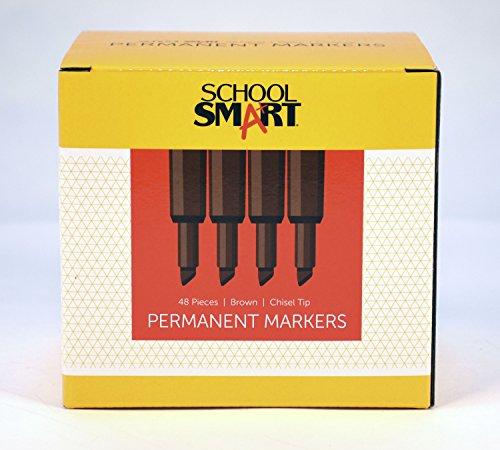 School Smart PY106605-48BROWN Permanent Marker Broad Chisel Tip, Brown (Pack of 48) by School Smart