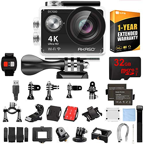 AKASO EK7000 Ultra HD 4k WiFi 170 Degree Wide Waterproof Sports Action Camera Black (EK7000) with 32GB MicroSD High-Speed Memory Card & 1 Year Extended Warranty