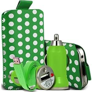 Samsung Galaxy Express 2 Protección Premium Polka PU ficha de extracción Slip In Pouch Pocket Cordón piel cubierta de la caja de la cubierta rápida, Bullet Rápido Cargador USB para coche con luz LED y de carga Super Fast 1 metro plana de transferencia de datos cable de sincronización verde y blanco por Spyrox