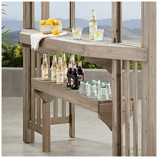 Garden and Outdoor Yardistry YM11783 Pergola with Sunshade and bar, Grey pergolas