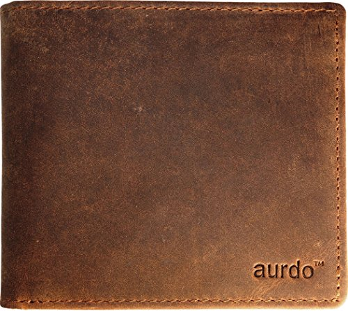 Bi Fold Leather Distressed (AurDo RFID Blocking Extra Capacity Multi Card Trifold Bifold Mens Wallet With ID Window (Hunter Natural Brown))