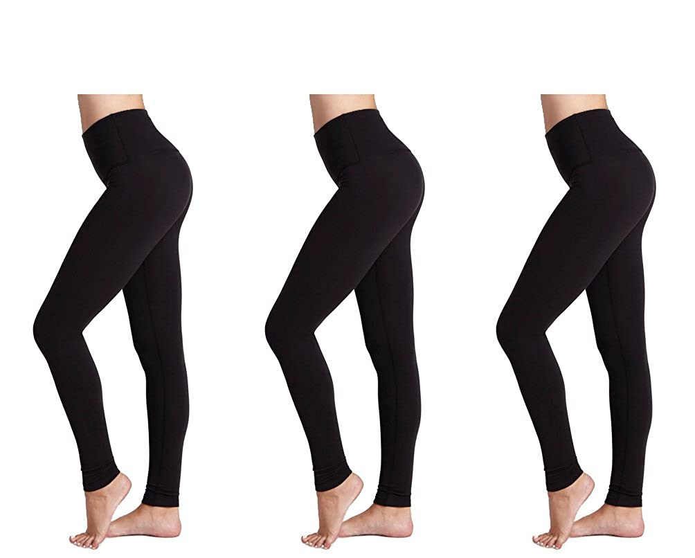 6e3569906bb13 FM London Women's Thermal Brushed Fleece Seamless Leggings(3 Pack), Black,  One size(fits M-L-XL)