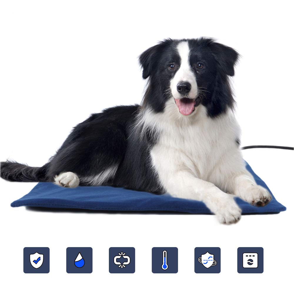 LANGYINH Dog Heating Pad,Pet Bed Electric Heating Pad Warming Mat Cushion with Chew Resistant Cord,Waterproof Heating Pads for Pets Dogs & Cats,15.7x11.8inch by LANGYINH