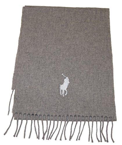 Polo Ralph Lauren Mens Big Pony Lambswool Wool Winter Scarf Italy Gray (Big Pony Lambswool)