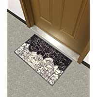 Kapaqua Rubber Backed Mat 18 x 31 Black & Ivory Floral Damask Doormat Accent Non-Slip Rug - Rana Collection Kitchen Dining Living Hallway Bathroom Pet Entry Rugs RAN2083-12
