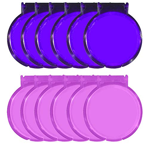 (Round Mirror - Set of 12 - Assorted Colors - Pink and Purple)