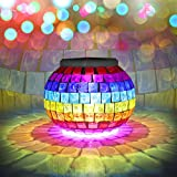 Solar Lights, BESWILL Color Changing Mosaic Glass Ball LED Solar Garden Lights,Rechargeable Waterproof Solar Table Lights with 2 Lighting Modes for Garden Yard Home Decoration and Ideal Gift(Star)