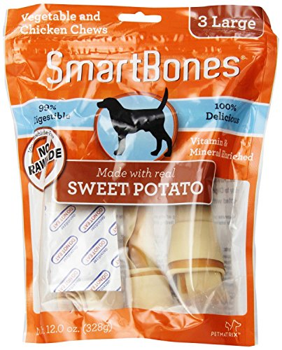 SmartBones Sweet Potato Dog Chew, Large, 3-count(2Pack)