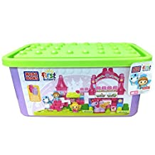 Fisher-Price (Fisher Price) Mega block glitter Princess Deluxe container 88 pieces from 1-year-old 88-piece DBL85