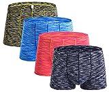 Mens Seamless Sexy Boxer Briefs Regular Underwear for Men Pack of 4 red-Black-Blue-Green Medium