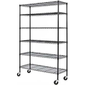 Best Choice Products Adjustable 6-Tier Steel Shelving Rack Storage W/ Castor Wheels