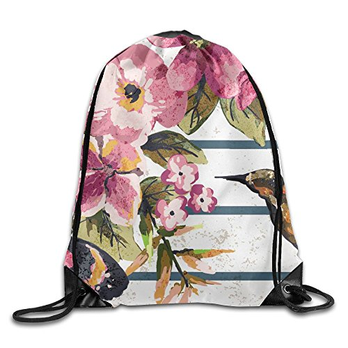 ZhiqianDF Hummingbird With Flower Casual White Travel Backpack One Size Polyester Drawstring - Seattle Nectars