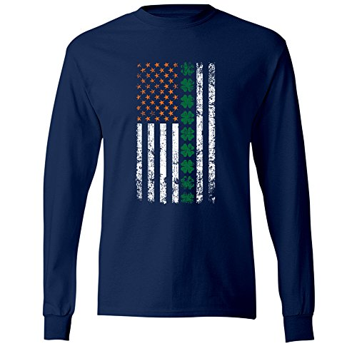 Swift Pigeon Apparel Irish American Shamrock Flag - Distressed Ireland Pride Mens Long Sleeve T-Shirt (3XL (Pride Long Sleeve Tee)
