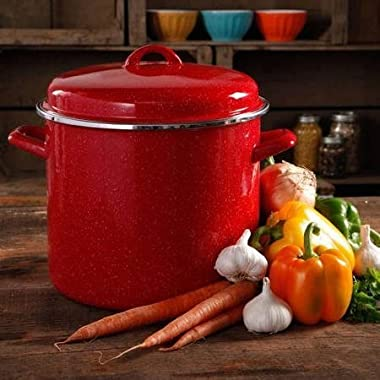 The Pioneer Woman Vintage Speckle 12-Quart Stock Pot with Hollow Side Handles, Red