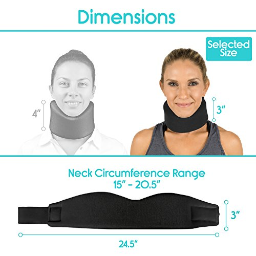 Neck Brace by Vive - Cervical Collar - Adjustable Soft Support Collar Can Be Used During Sleep - Wraps Aligns & Stabilizes Vertebrae - Relieves Pain & Pressure in Spine (Thin, Black) by VIVE (Image #2)