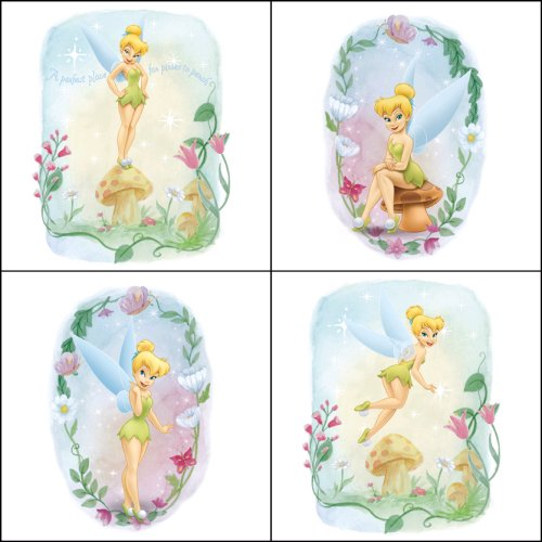 Blue Mountain Wallcoverings 31720449 Very Fairy Tinker Bell 4-Piece Self-Stick Wall Art Wallcovering Primary