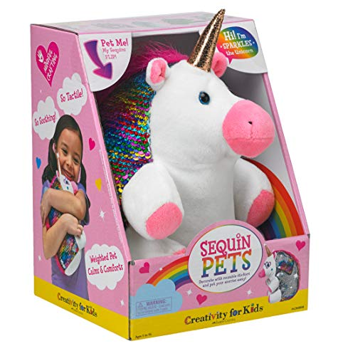 Creativity for Kids Sequin Pets Stuffed Animal - Sparkles The Unicorn Plush - Toy Girl Plush