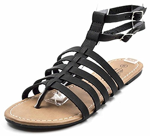 Charles Albert Womens Double Ankle Strappy Gladiator Boho Sandaal Midnight Black