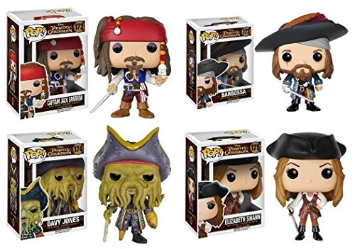 Pop! Disney: Pirates of the Caribbean Captain Jack Sparrow, Barbossa, Elizabeth Swann and Davy Jones! Vinyl Figures Set of 4 ()