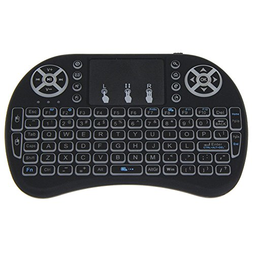 Amebay 2.4GHz LED Backlit Mini Wireless Keyboard with Touchpad Remote for Google Android TV Box,Pad,PS3,XBOX 360,HTPC