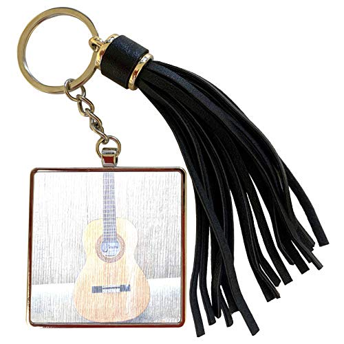 3dRose Patricia Sanders Creations - Guitar Wood Standing Music Instruments - Tassel Key Chain (tkc_29241_1)
