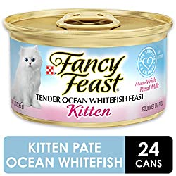 Start your kitten's love of gourmet foods early with Purina Fancy Feast Kitten Tender Ocean Whitefish Feast wet cat food. The tender ocean whitefish gives her the delicate seafood taste cats crave, and the smooth texture makes it easy for her to nibb...