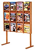 Wooden Mallet Divulge 12 Magazine Floor Display, Medium Oak