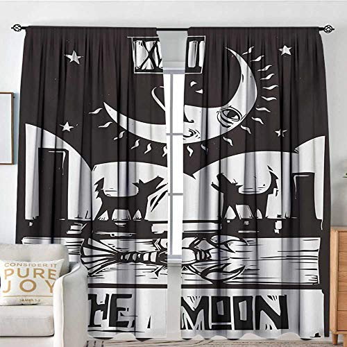 (Petpany Blackout Valances for Girls Bedroom Moon,Brown White Drawing Lobster Wolves Crescent Moon Stars Tarot Card Design,Charcoal Grey White,Rod Pocket Curtains for Big Windows 54