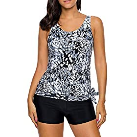 RoDeke Women Side Tie 2 Piece Polka Dot Printed Tank Top with Bottoms Tankini Set Bathing Suits with Pockets