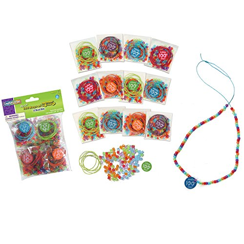 Creativity Street CK-4678BN 100 Days of School, Bead Kit, Assorted Sizes, 12 Kits Per Pack, 3 Packs