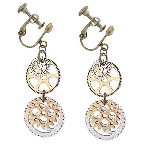 Women Girls Steampunk Clip on Abstract Earrings Antique Bronze Clock Watch Wheel Gears Charms Jewelry from BFF Jewelry