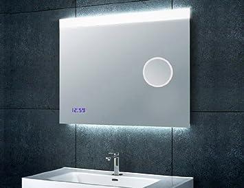 Badspiegel Mit Beleuchtung Uhr Und Kosmetikspiegel 80x60cm Amazon
