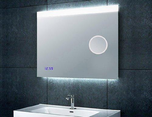 spiegel mit beleuchtung und uhr. Black Bedroom Furniture Sets. Home Design Ideas