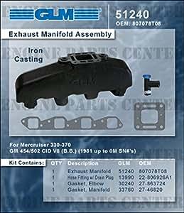 MERCRUISER EXHAUST MANIFOLD GM BIG BLOCK (CAST IRON) | GLM Part Number: 51240; Mercury Part Number: 807078Q07