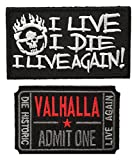 Patch Squad Men's 2pc Mad Max Fury Road Ticket to Valhalla I Live I Die Skull Patch