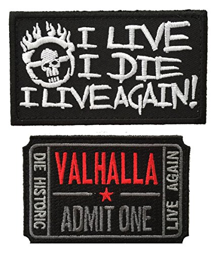 Furiosa Mad Max Costume (Patch Squad Men's 2pc Mad Max Fury Road Ticket to Valhalla I Live I Die Skull Patch)