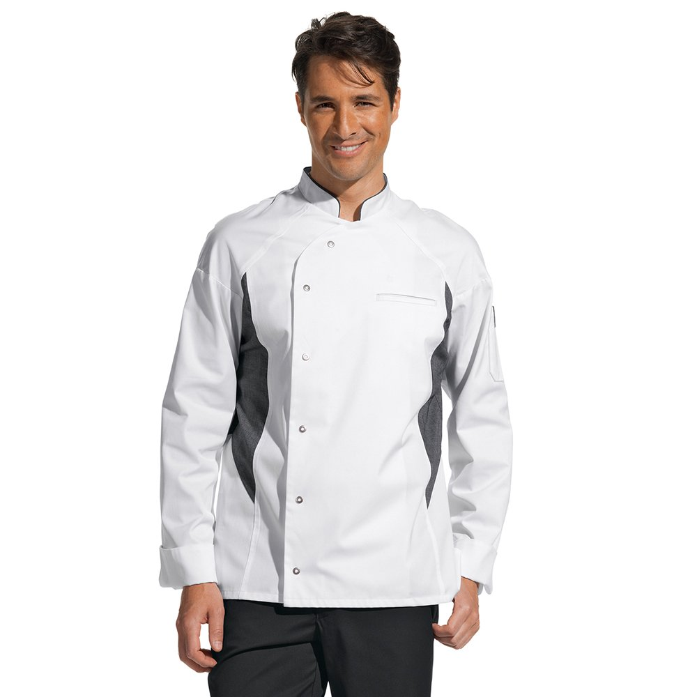 Leiber Men's Chef Coat (White/Grey), Size: 64