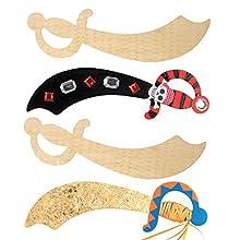 Baker Ross Espadas de Pirata de Madera para Decorar y Personalizar. Manualidades Creativas para Niños Perfectas para Fiestas de Piratas (Pack de 4)